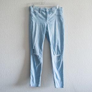 GAP Favorite Jegging Size 31 Blue Distressed